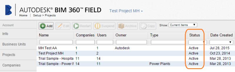 UI setup projects status